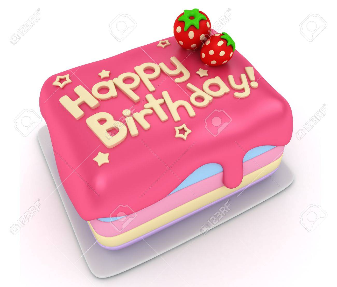 3D Illustration Of A Birthday Cake Stock Photo Picture And Royalty