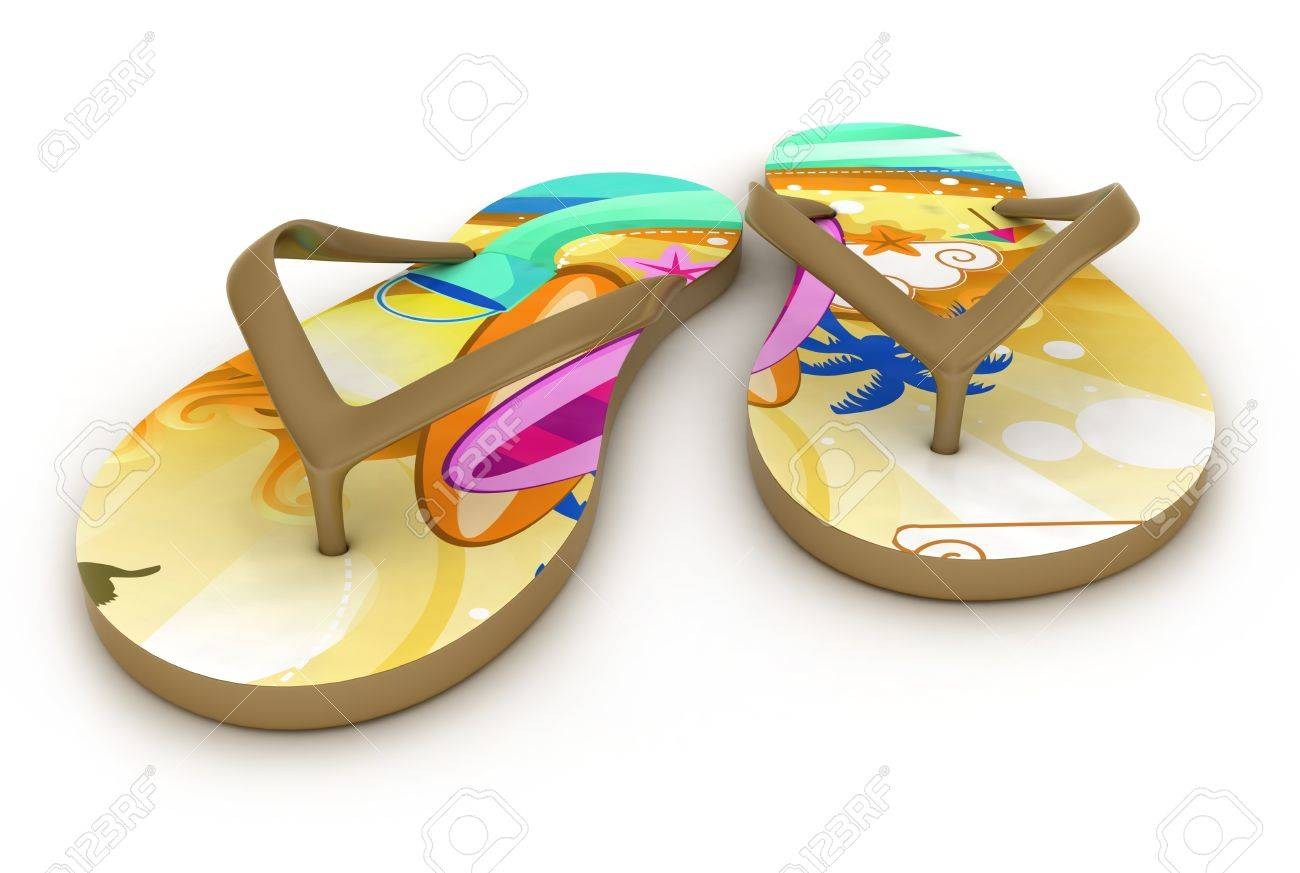 3D Illustration of Colorful Flip-flops Stock Photo - 9648888