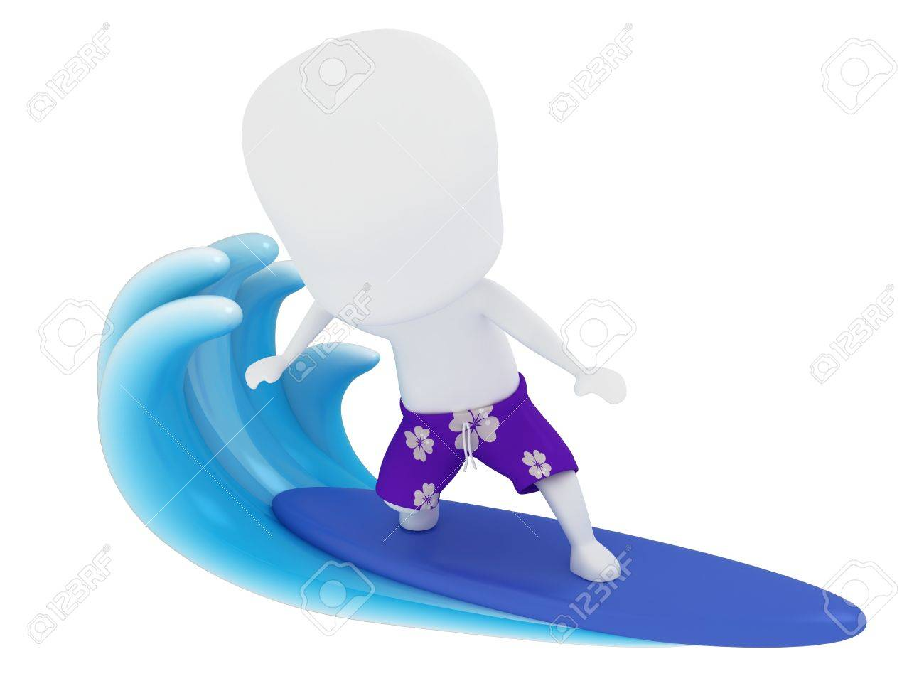 3D Illustration of a Man Surfing on Water Stock Illustration - 9648854