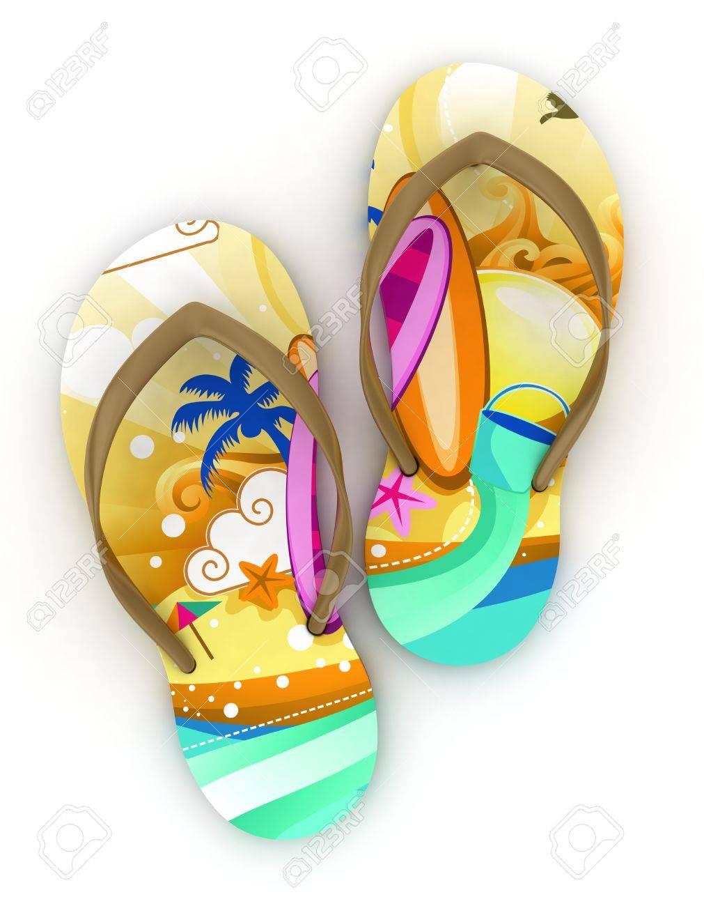 3D Illustration of Colorful Flip-flops Stock Photo - 9648906