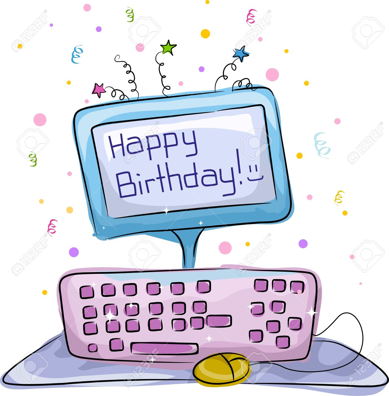 Tremendous Illustration Of A Birthday Cake With A Computer Theme Stock Photo Funny Birthday Cards Online Amentibdeldamsfinfo