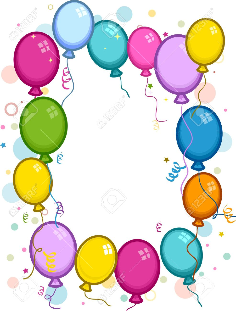 Clip art balloons - Frame Featuring Confetti And Colorful Balloons Stock Photo