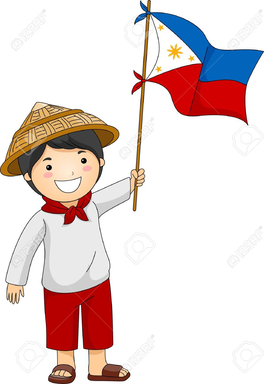 Illustration Of A Filipino Kid Holding The Philippine Flag Stock
