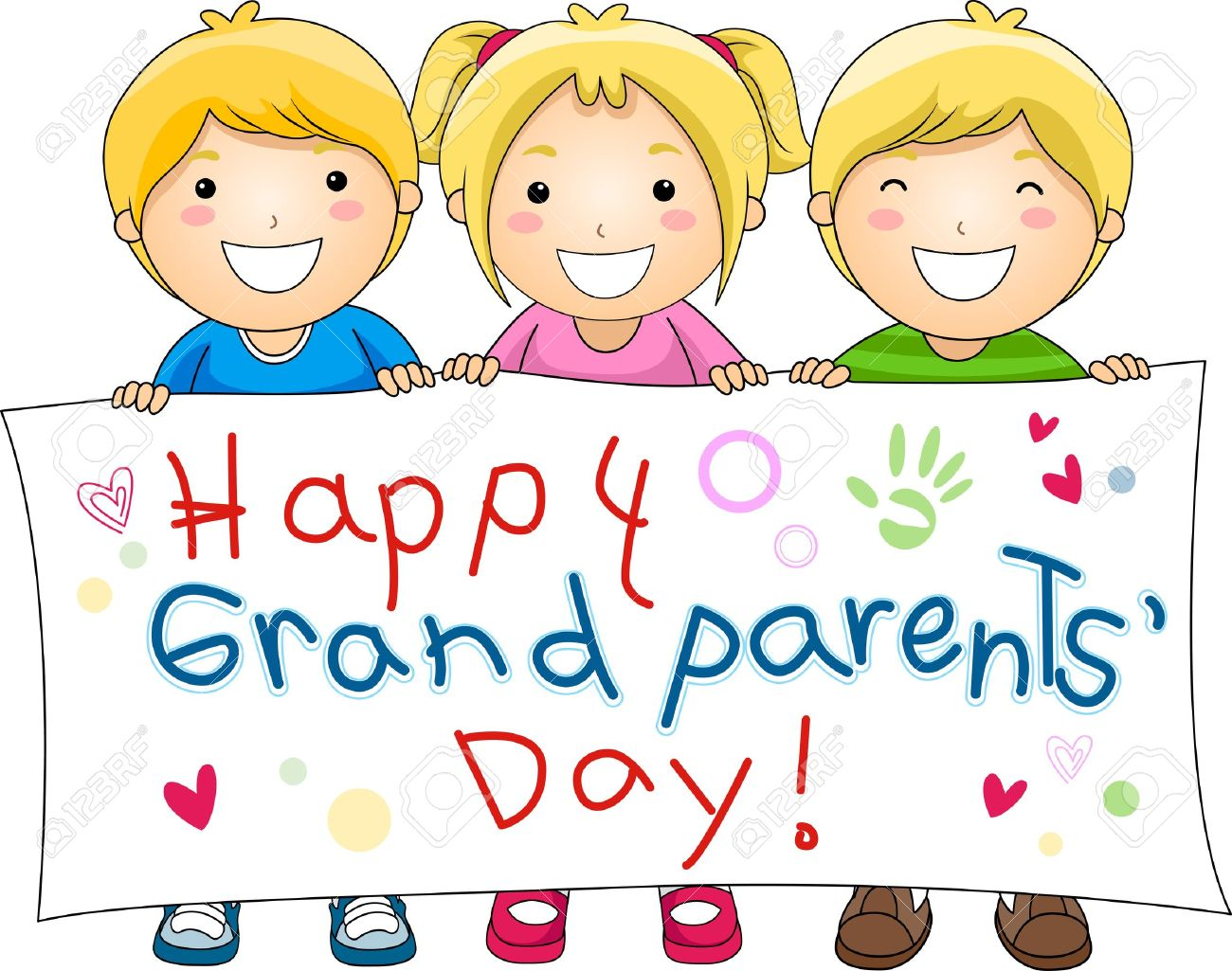 Illustration Of Children Holding A Banner With Grandparents Stock