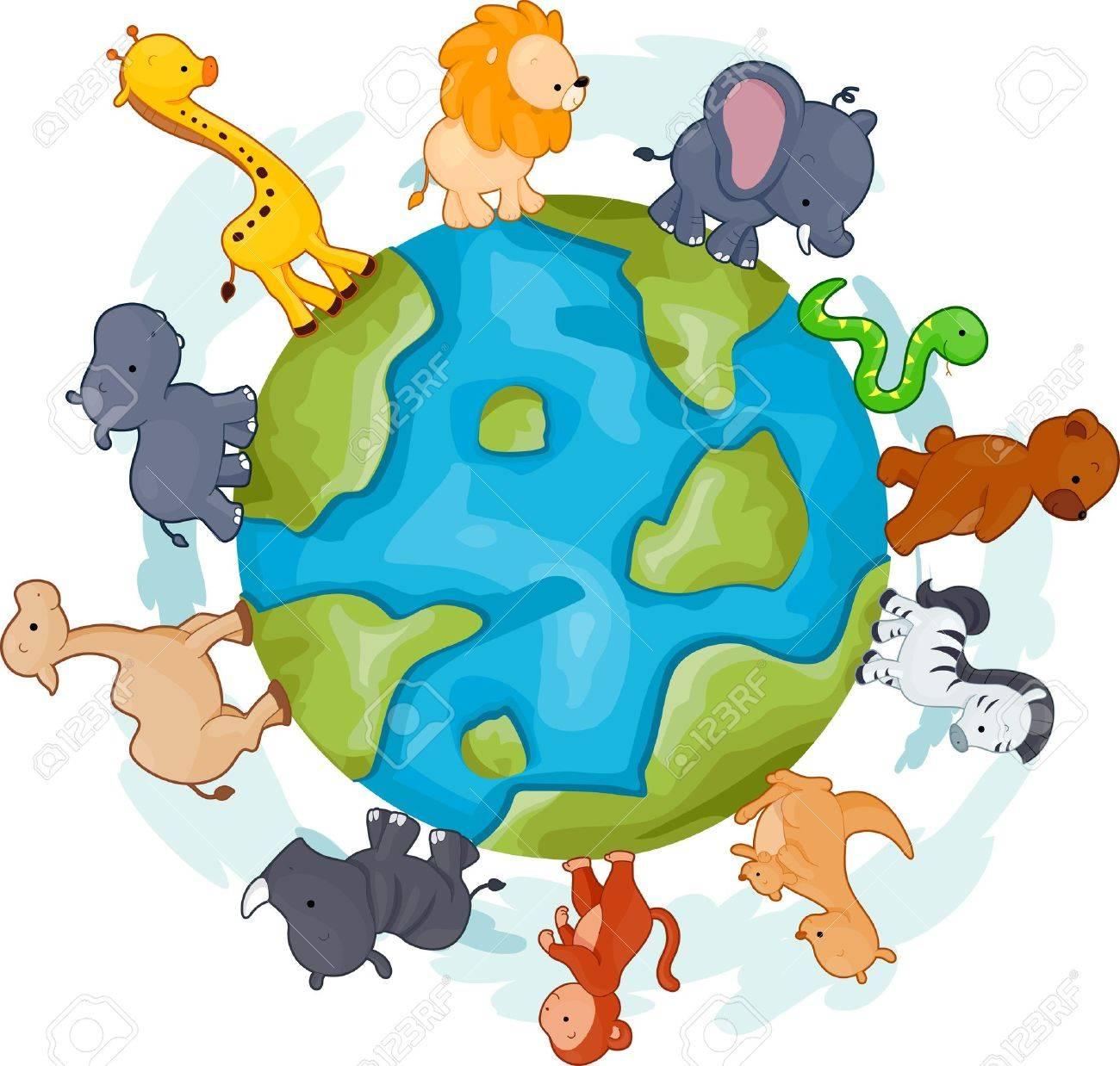 地球の周りを歩いて動物のイラスト の写真素材画像素材 Image 9670351