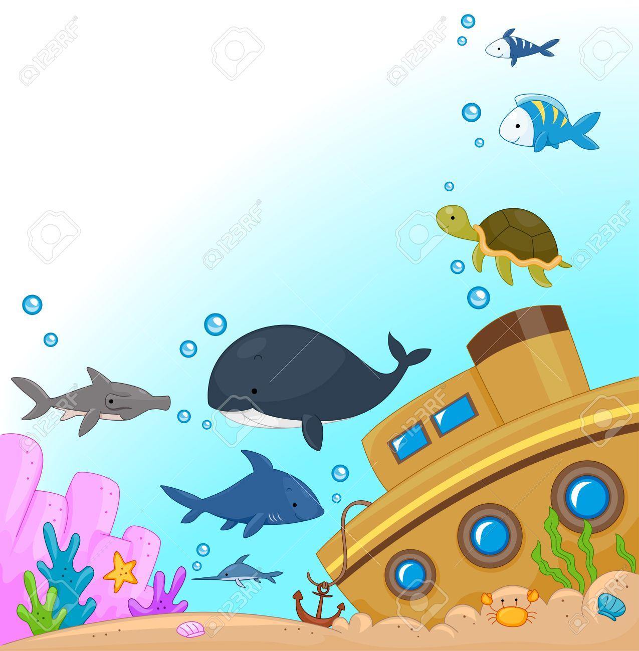 Illustration of Animals Under the Sea Stock Illustration - 9670349