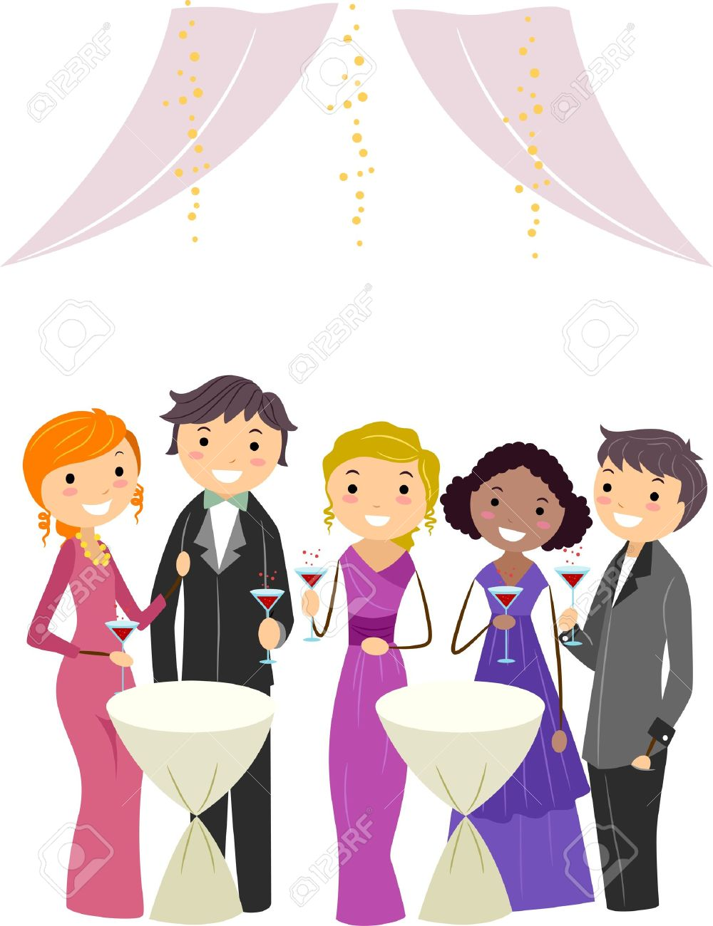 illustration illustration of a group in a formal party