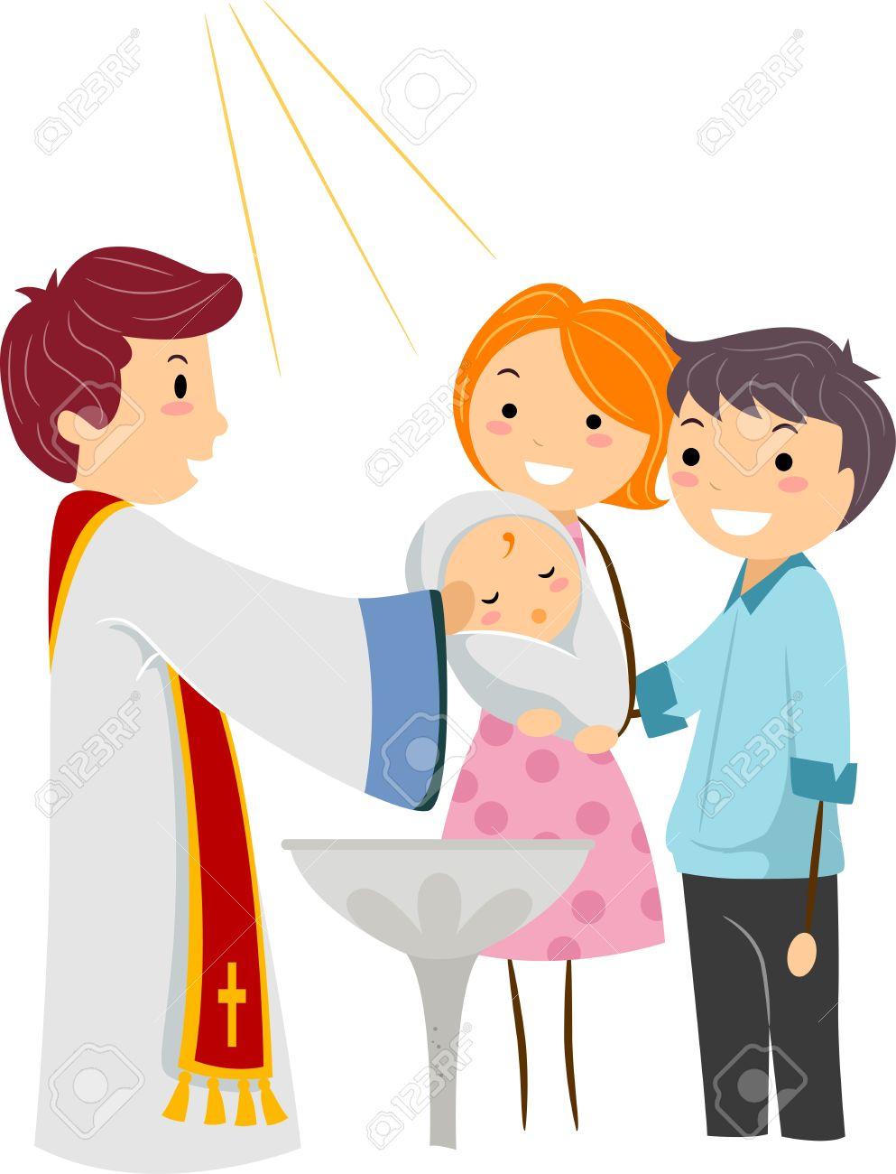 Ilustración de un sacerdote bautizando a un niño Foto de archivo - 9707223