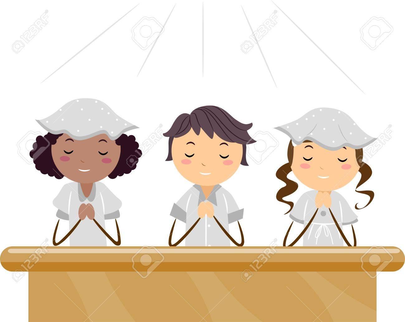 Illustration of Kids Praying in a Church Stock Illustration - 9707207