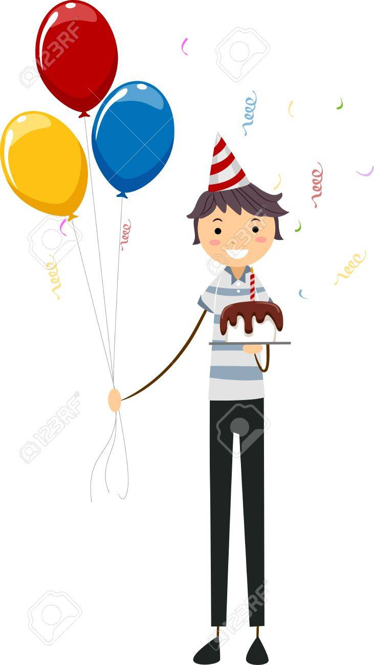 Ilustración De Un Hombre Sosteniendo Un Pastel Y Globos De Cumpleaños