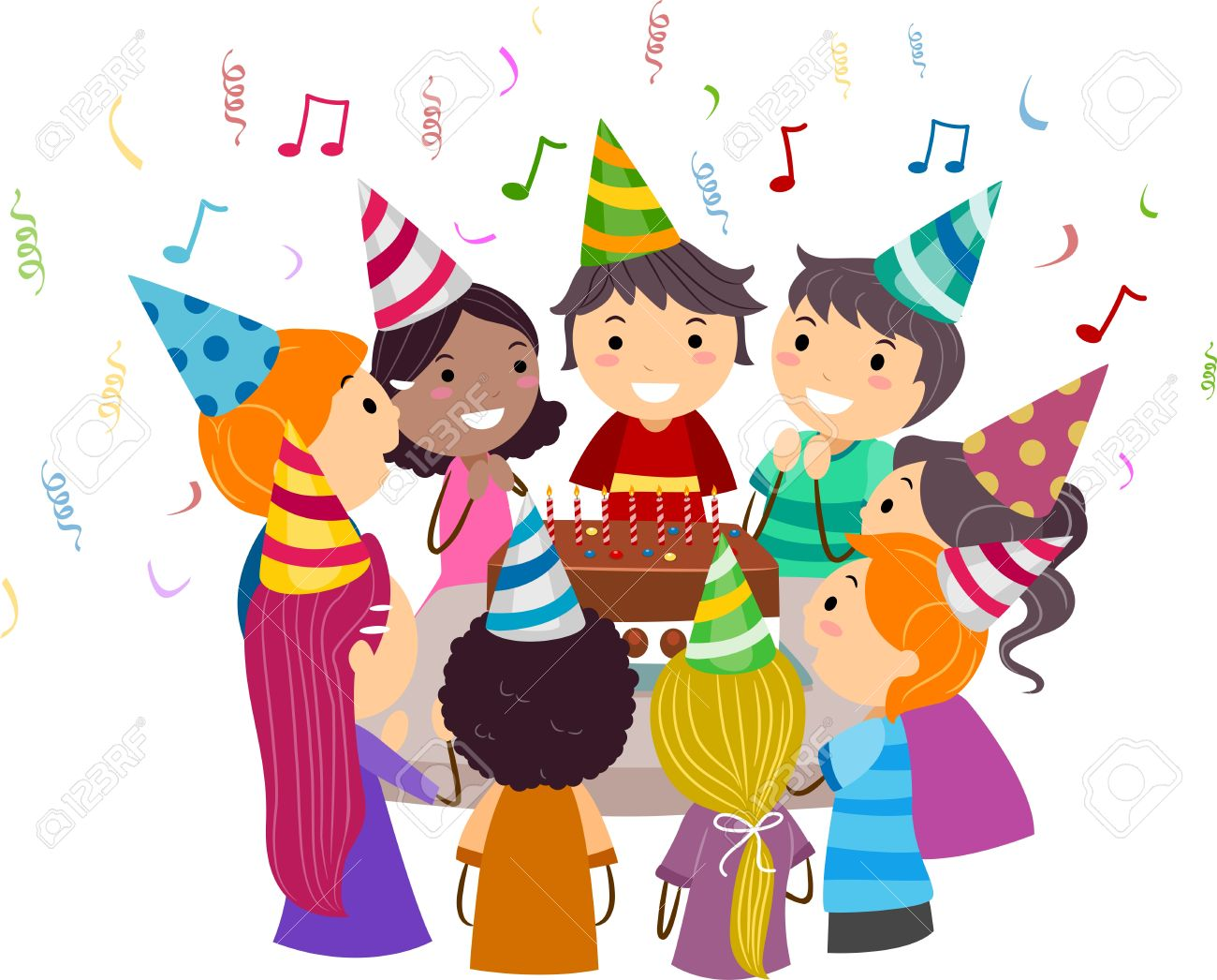 Illustration of Kids Gathered Around a Birthday Cake Stock Photo - 9707269