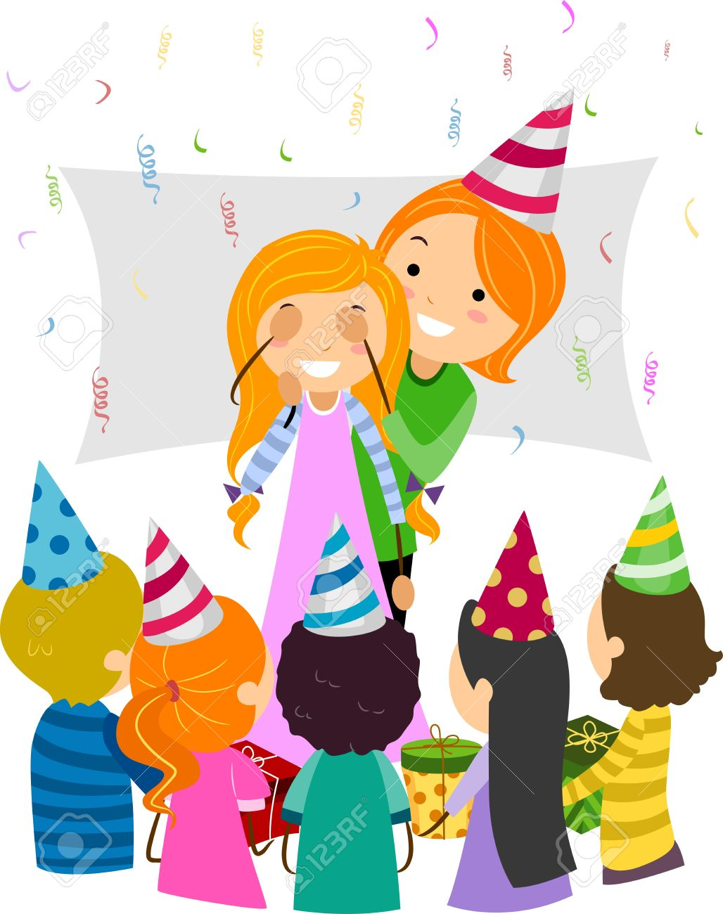 Illustration Of A Mom Giving Her Daughter A Birthday Surprise Stock