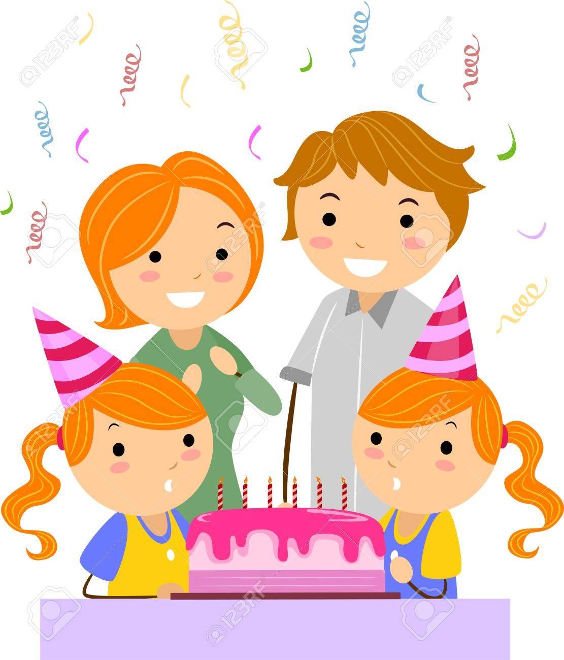 Illustration Des Jumeaux Celebrer Leur Anniversaire Banque D Images