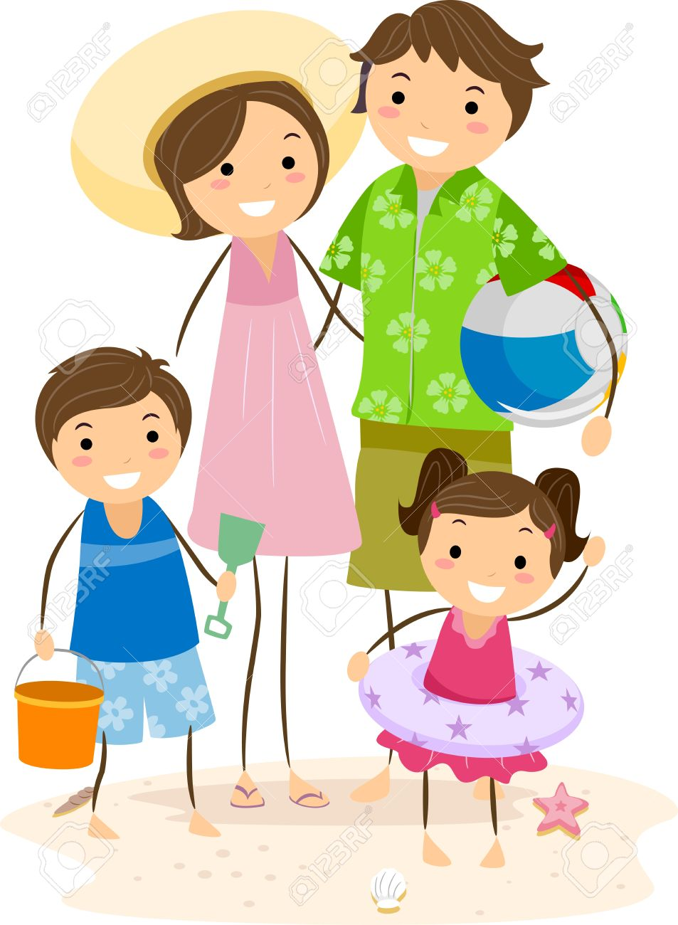 Illustration of a Family Outing at the Beach Stock Illustration - 9781917