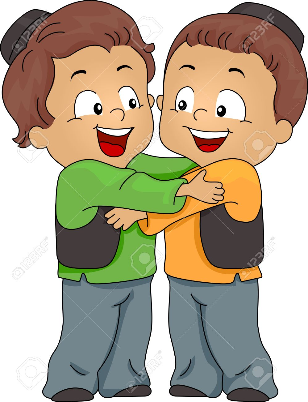 Illustration of Muslim Kids Hugging Each Other Stock Photo - 9781939