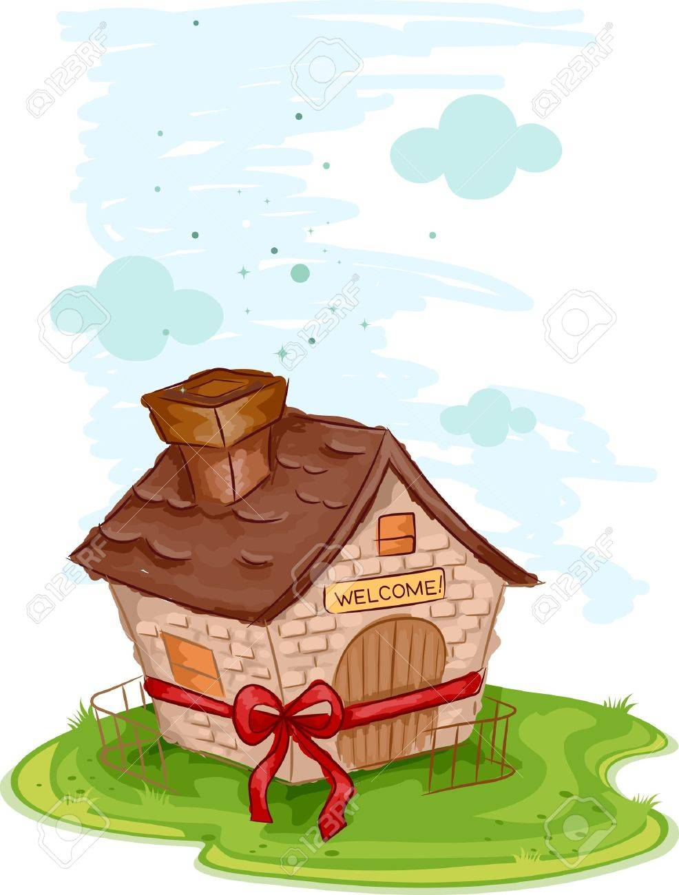 Illustration Of A New House Tied With A Ribbon Stock Photo - New home clipart