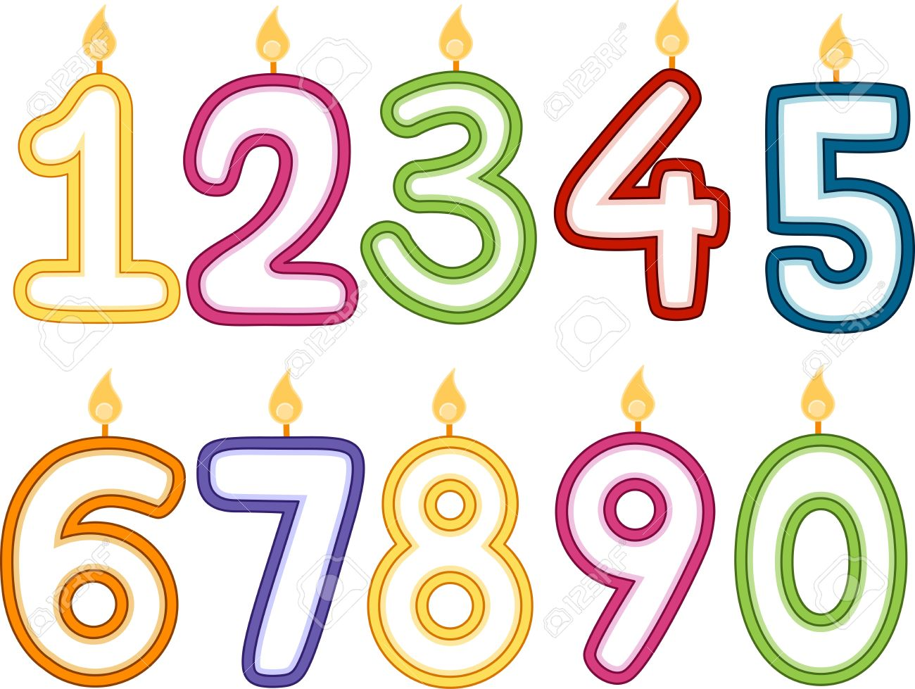 Illustration Of Number Shaped Birthday Candles Stock Photo Picture