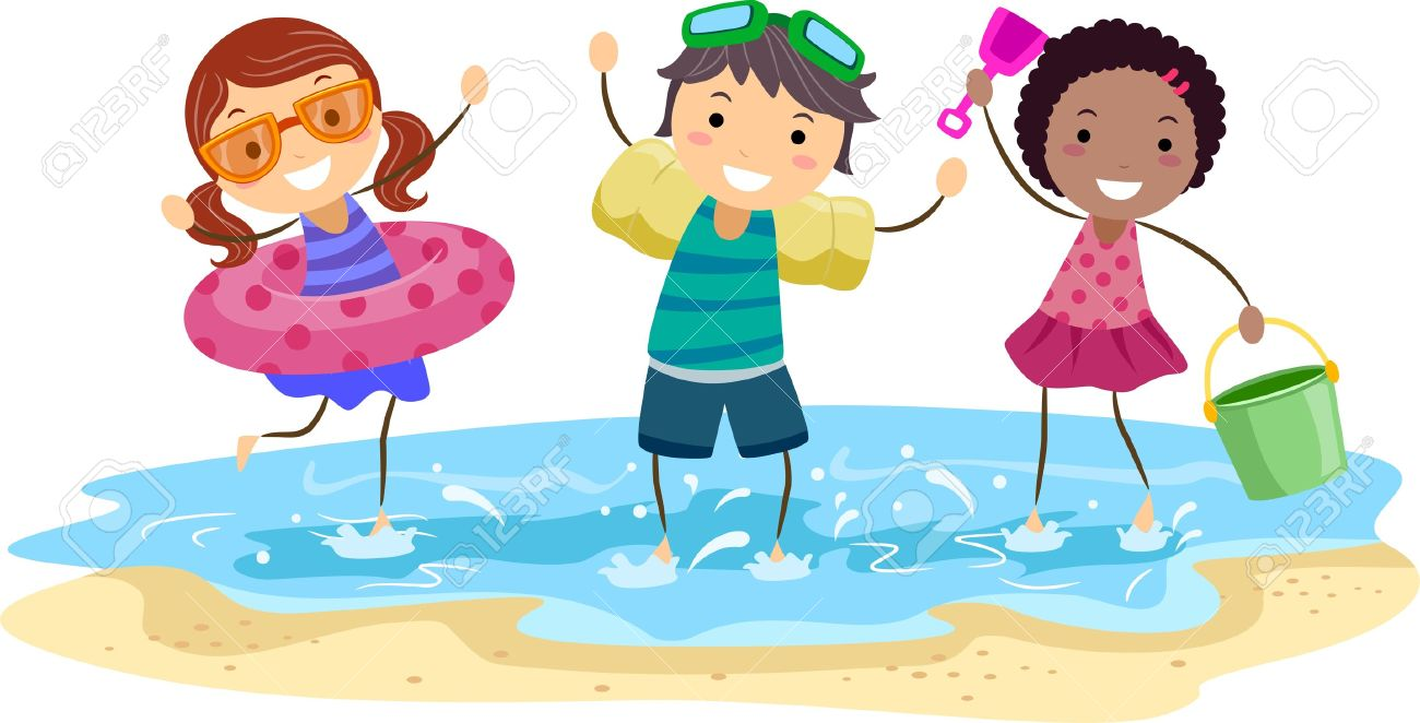 Illustration Of Kids Playing On The Beach Stock Photo