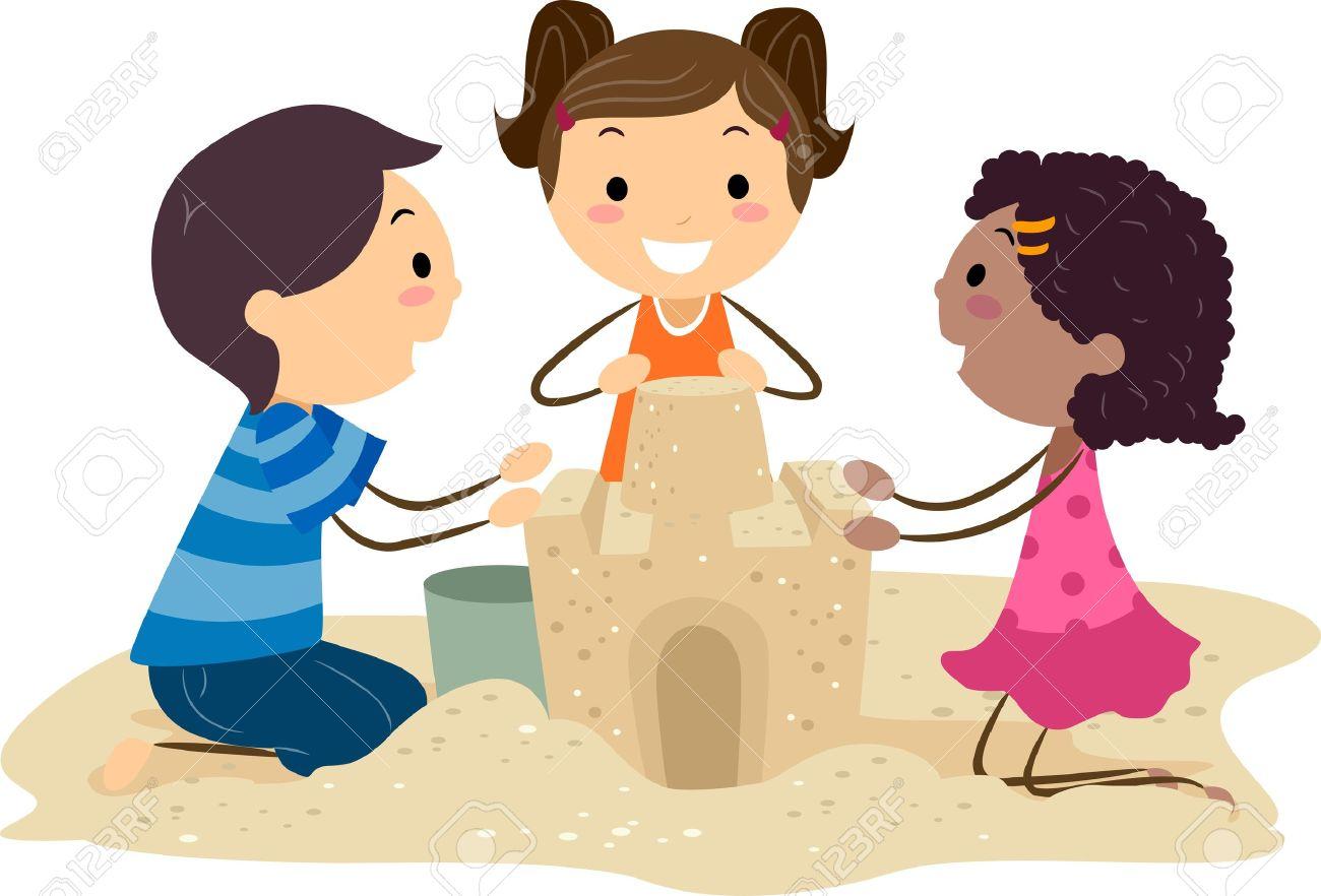 Sandburg clipart  Abbildung Der Kinder Eine Sandburg Bauen Lizenzfreie Fotos, Bilder ...