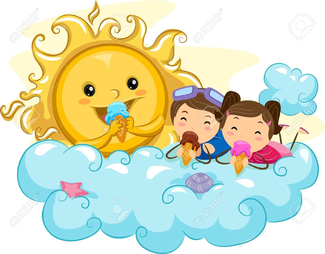 Illustration of Kids Eating Ice Cream with the Sun Stock Illustration - 9915275