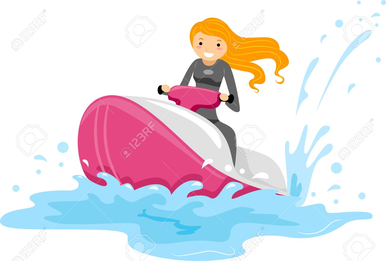 Illustration Of A Girl Riding A Jet Ski Stock Photo Picture And Royalty Free Image Image 9915219