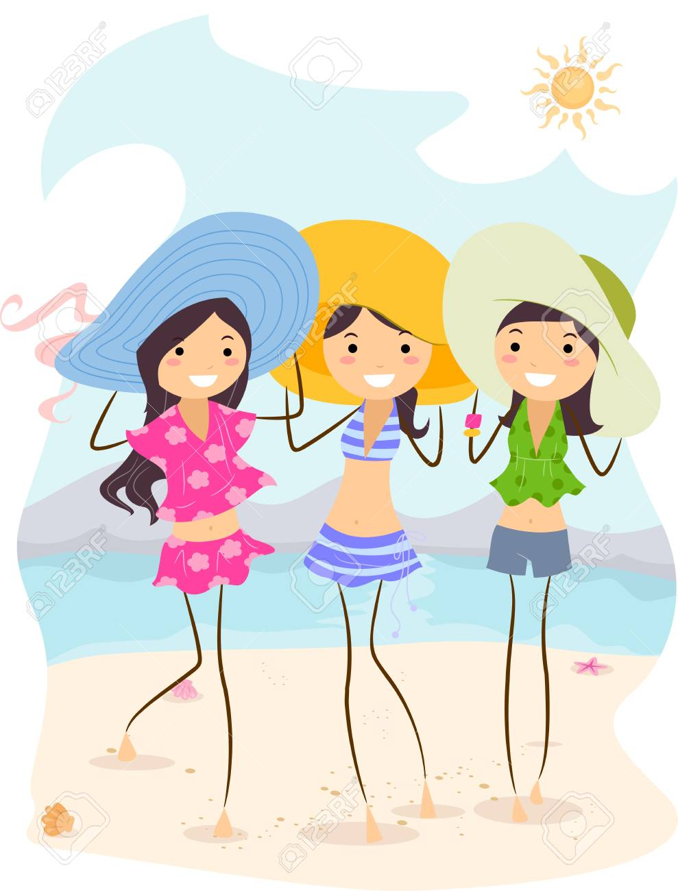 Illustration of Girls Wearing Different Summer Outfits Stock Photo - 9915258