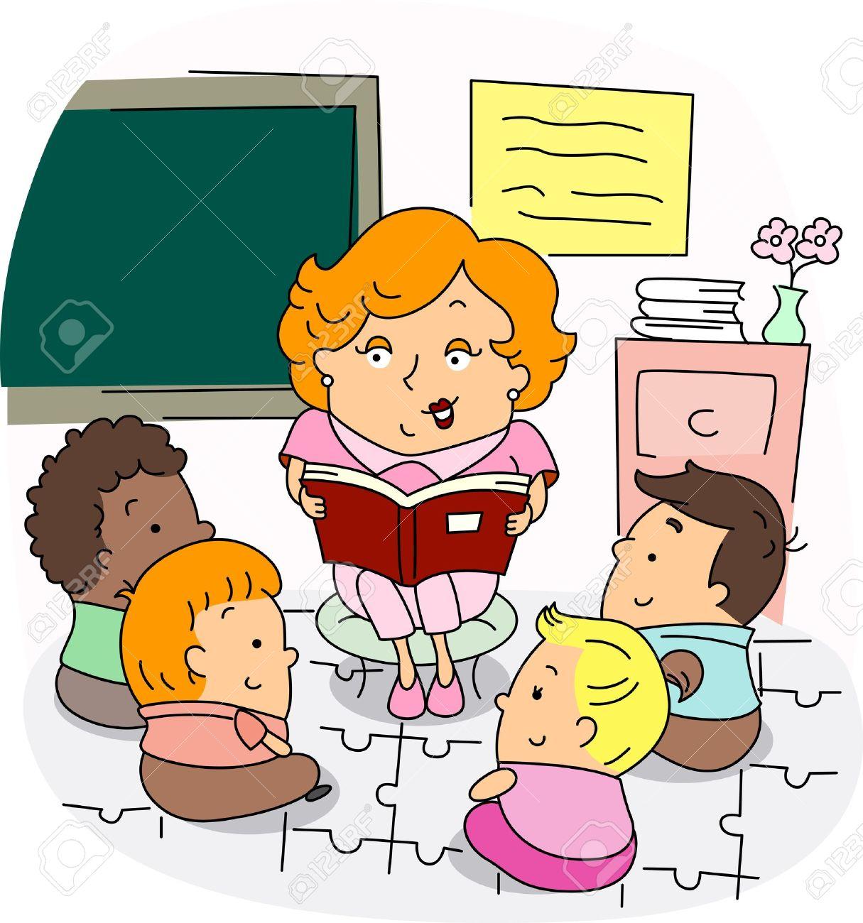Illustration of a Preschool Teacher at Work Stock Illustration - 9947688