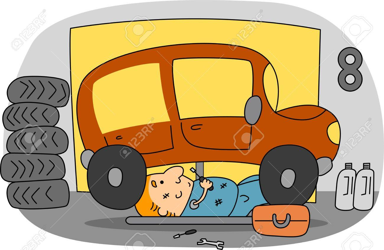 Illustration of an Automotive Mechanic at Work Stock Illustration - 9947643