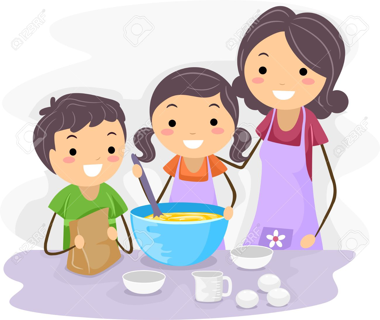 Illustration of Family Baking Pastries Together Stock Photo - 9991424