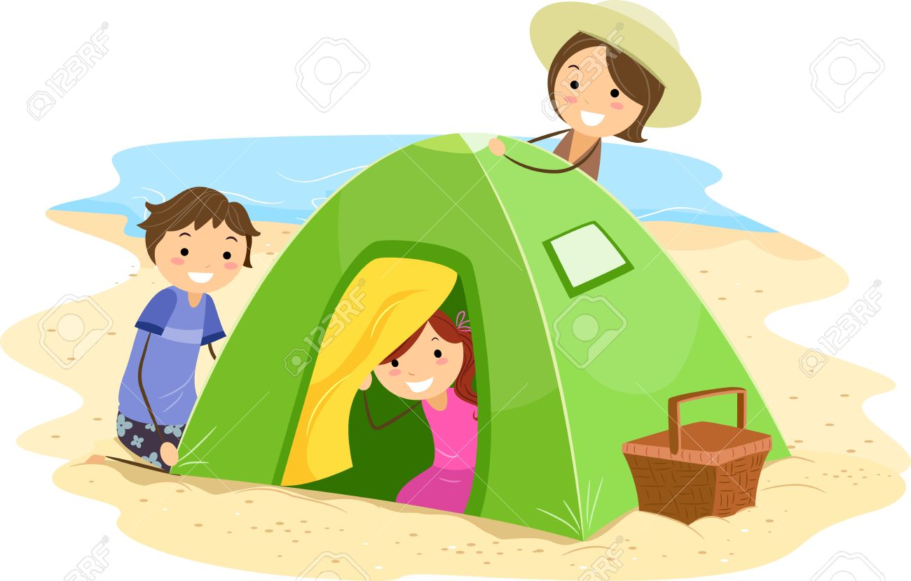 illustration of a family building a tent together stock photo