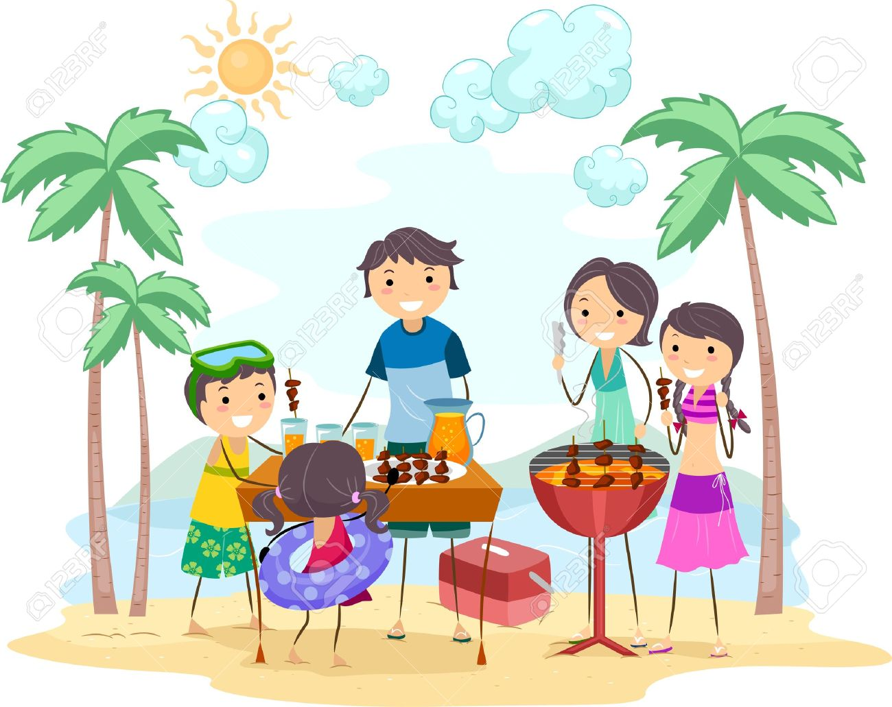 Illustration of a Family Outing Stock Illustration - 9991453
