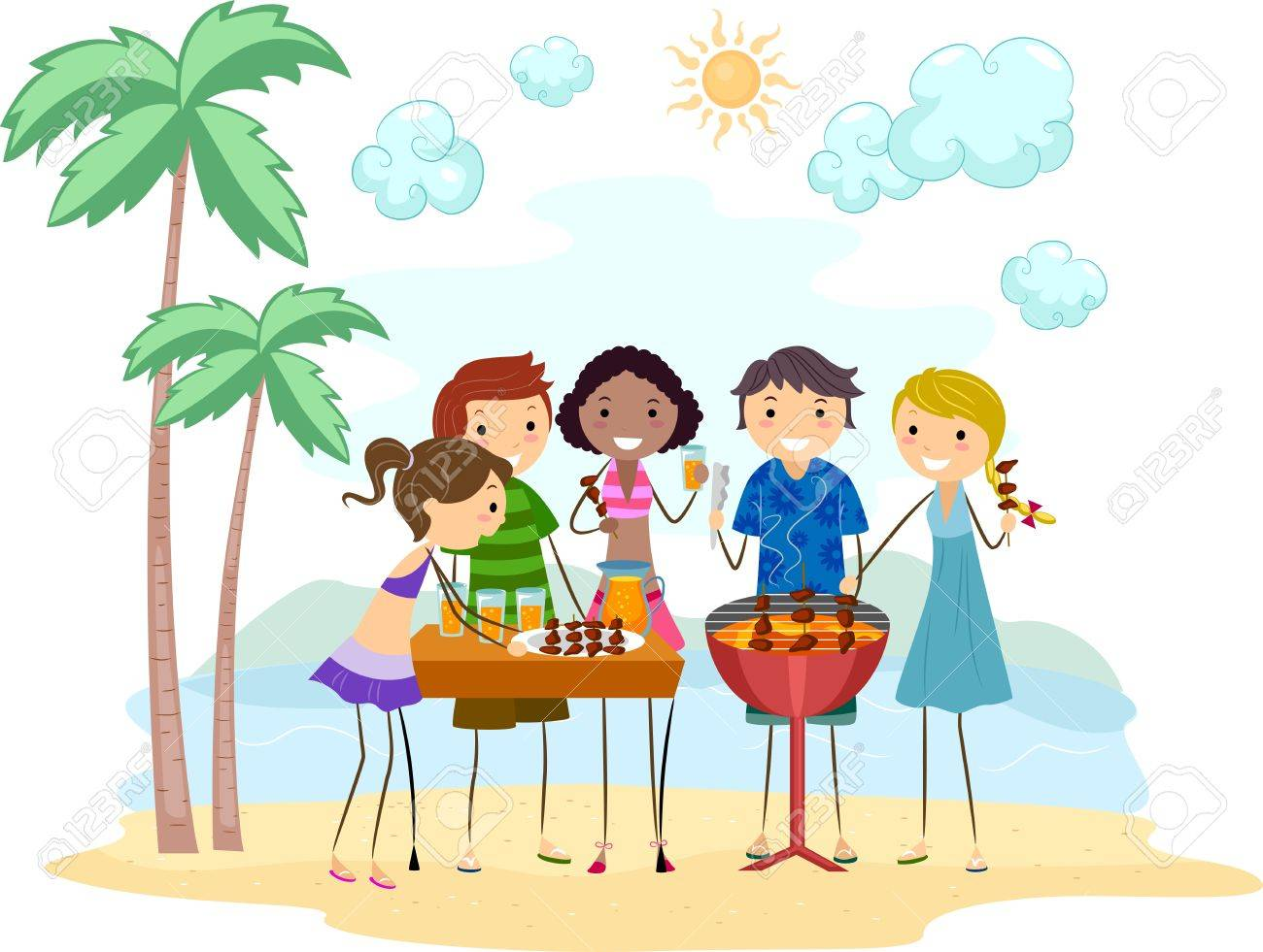 Illustration of Friends Having a Barbecue Party Stock Photo - 9991439