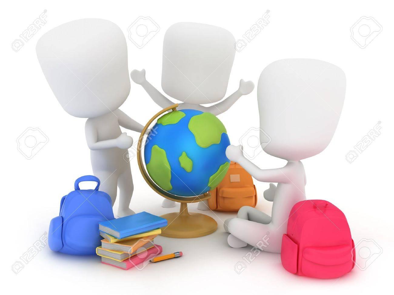 Schulklasse im unterricht clipart  Abbildung Des Kindergartens Kinder Mit Einen Globus Lizenzfreie ...