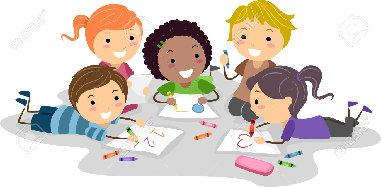 illustration illustration of kids drawing with crayons - Images Of Kids Drawing
