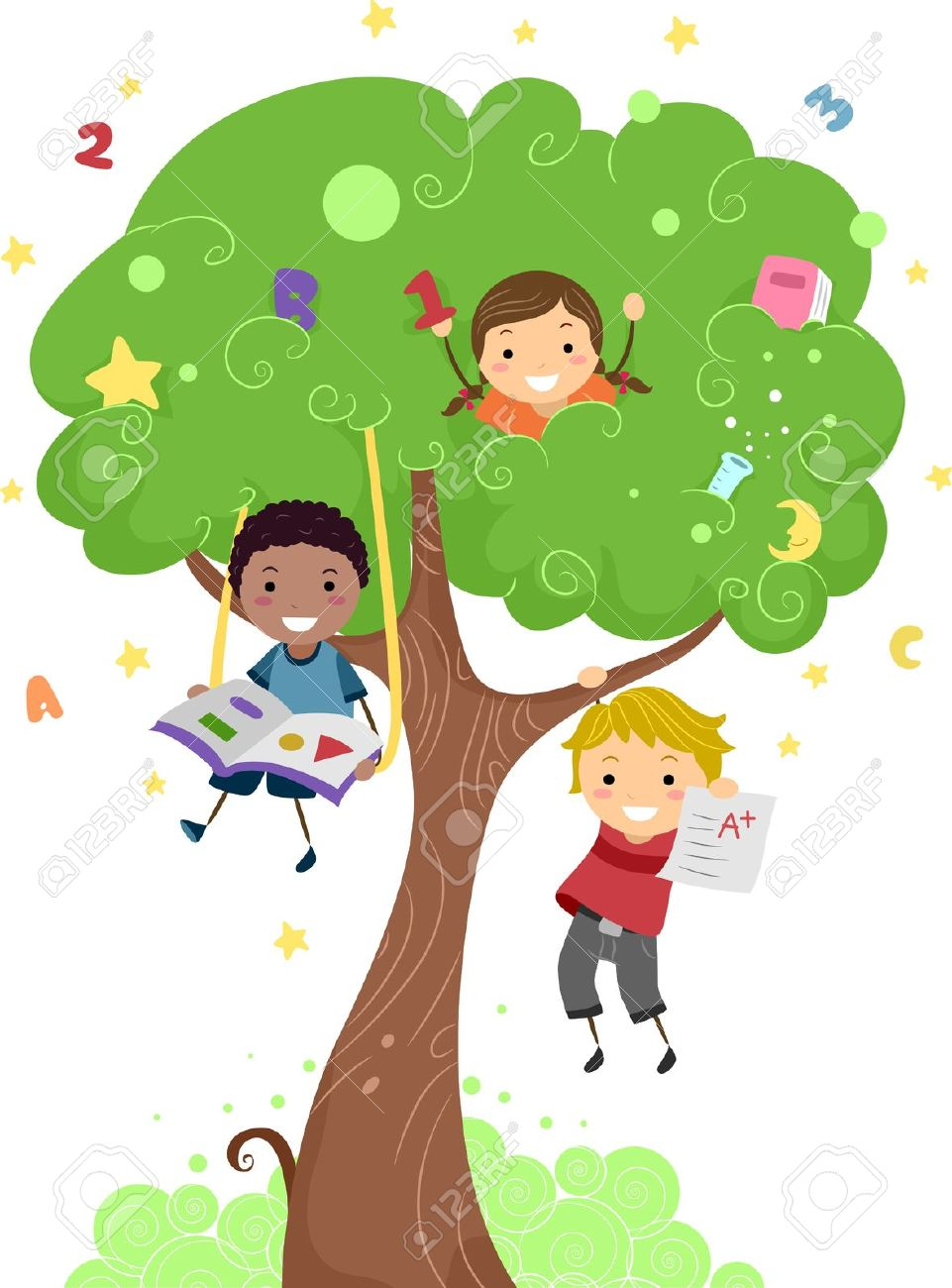 illustration of kids playing with a tree stock photo picture and