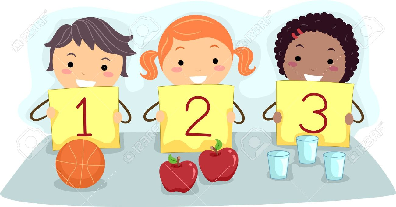 illustration of kids holding flash cards with numbers stock photo