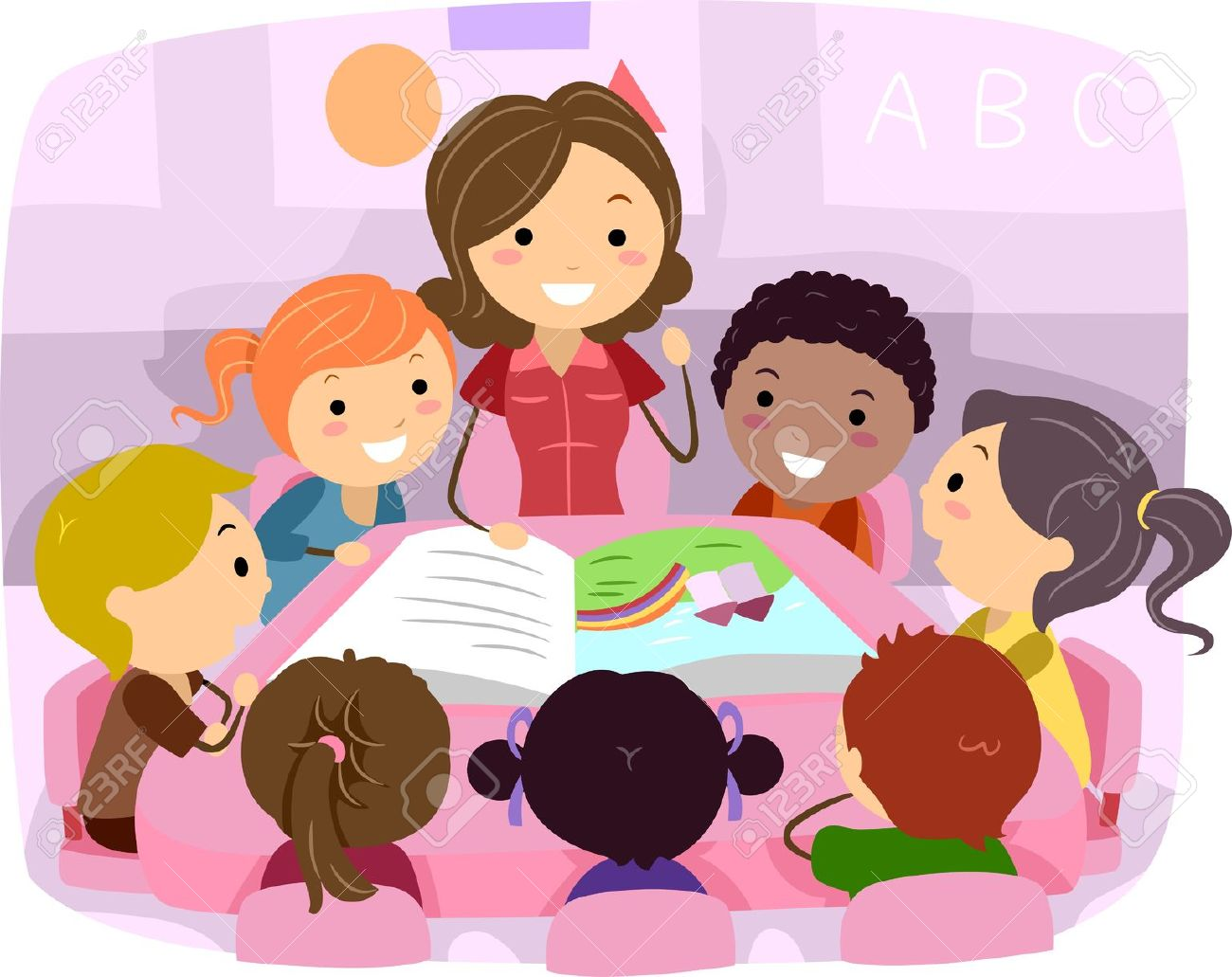 teacher illustration of kids listening to a story stock photo - Cartoon Picture Of Children