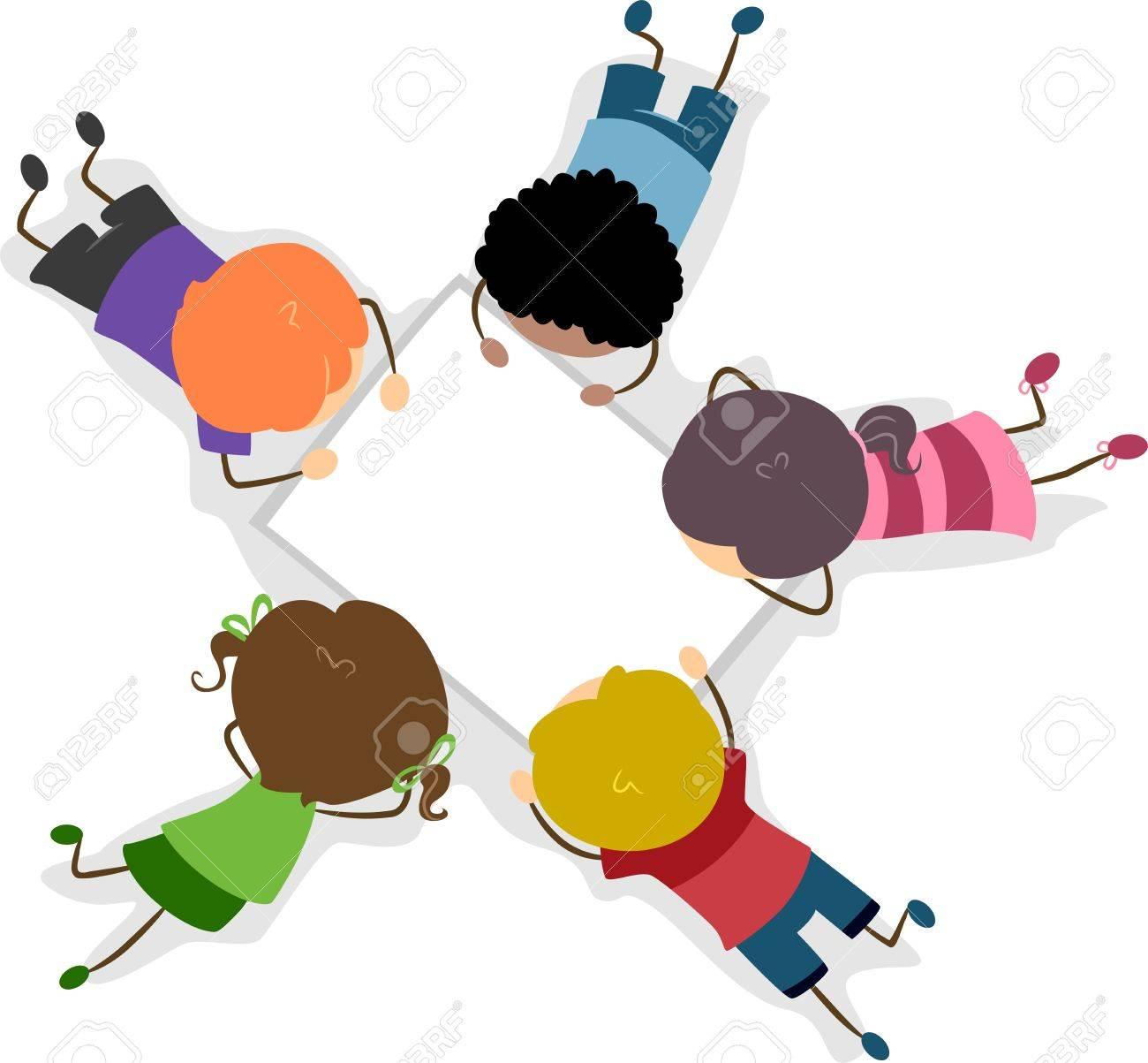 Illustration of Kids Looking at a Blank Piece of Paper Stock Photo - 10132533