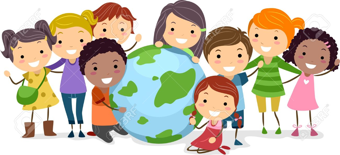 Illustration Of Kids Surrounding A Globe Stock Photo, Picture And ...