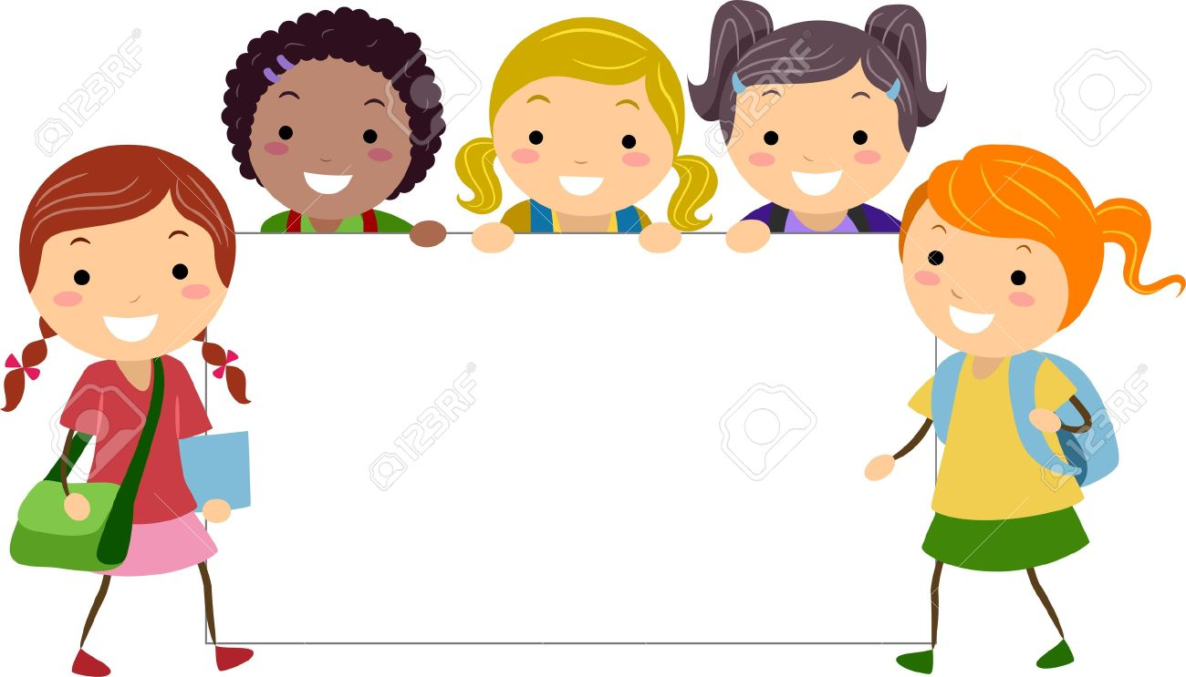 student cartoon illustration of girls posing with a blank board stock photo - Cartoon Picture Of Children