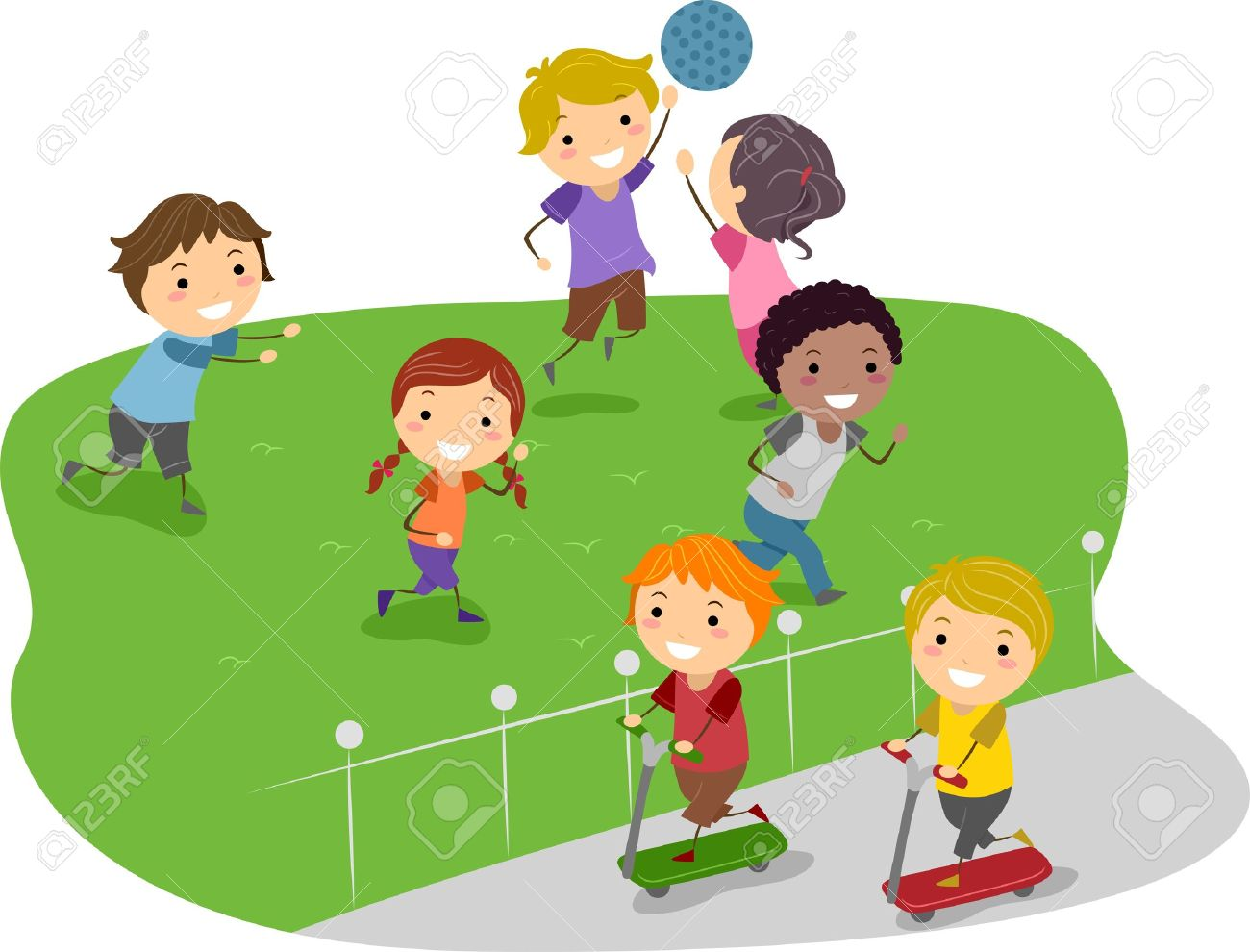 illustration of kids playing in a park stock photo, picture and