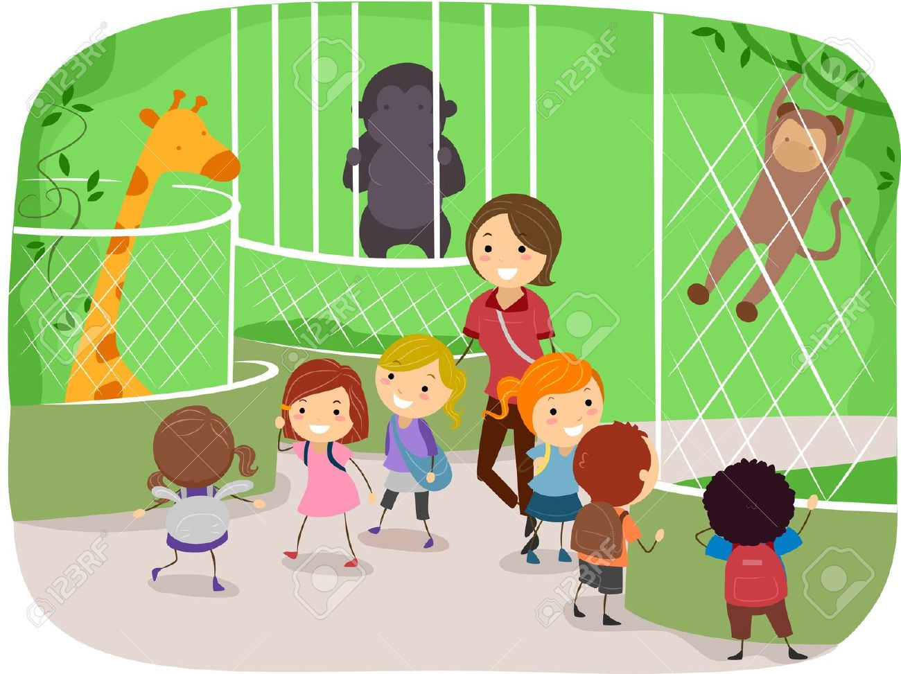 Illustration of Kids Observing Animals in a Zoo Stock Illustration - 10132562