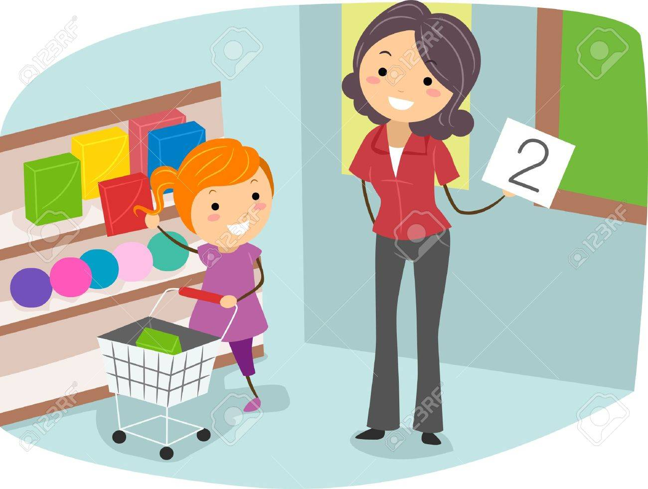 Illustration of a Kid Doing a Counting Exercise Stock Illustration - 10192135