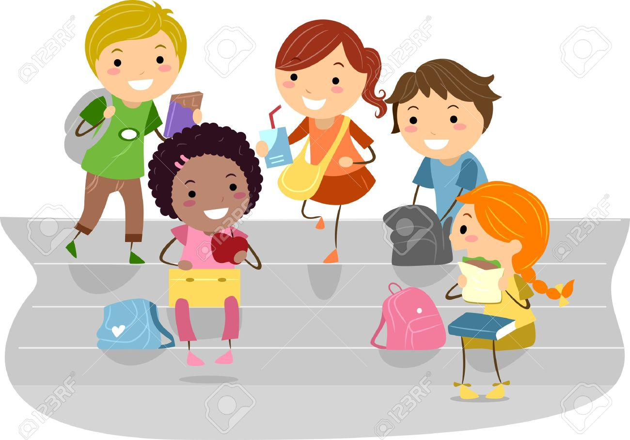 illustration of kids enjoying their recess stock photo, picture and
