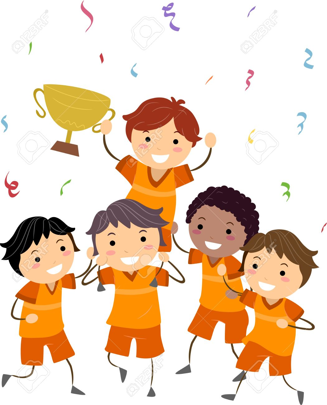 Illustration Of Kids Showing Their Trophy Stock Photo Picture And
