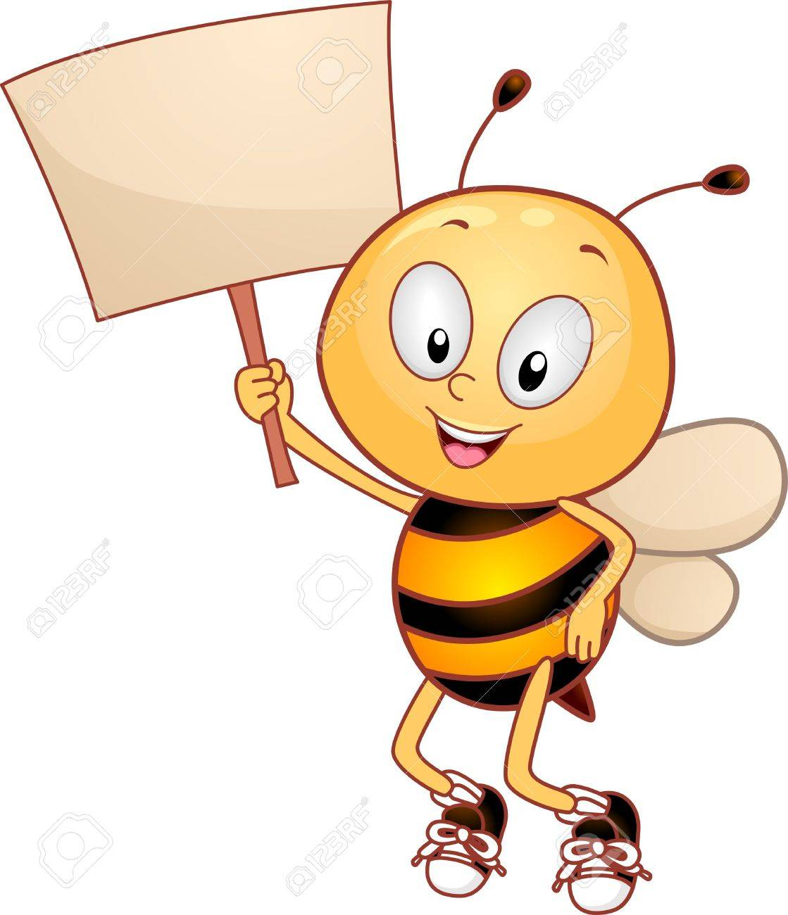 illustration of a bee holding a placard stock photo picture and