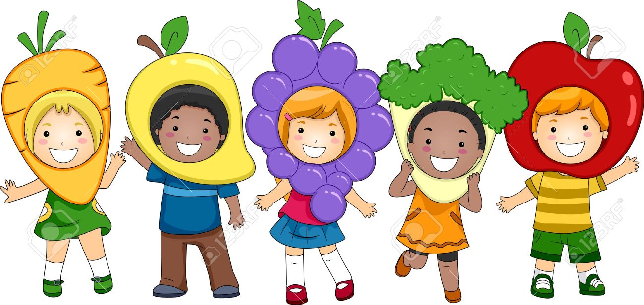 illustration of kids dressed as fruits and vegetables stock photo