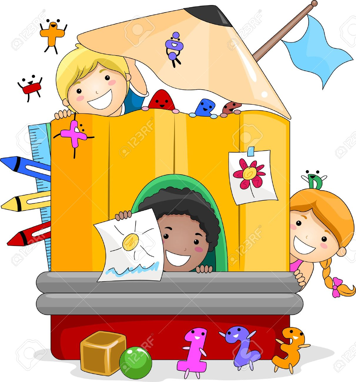 Illustration of Kids Playing Inside a Giant Pencil Stock Photo - 10192176