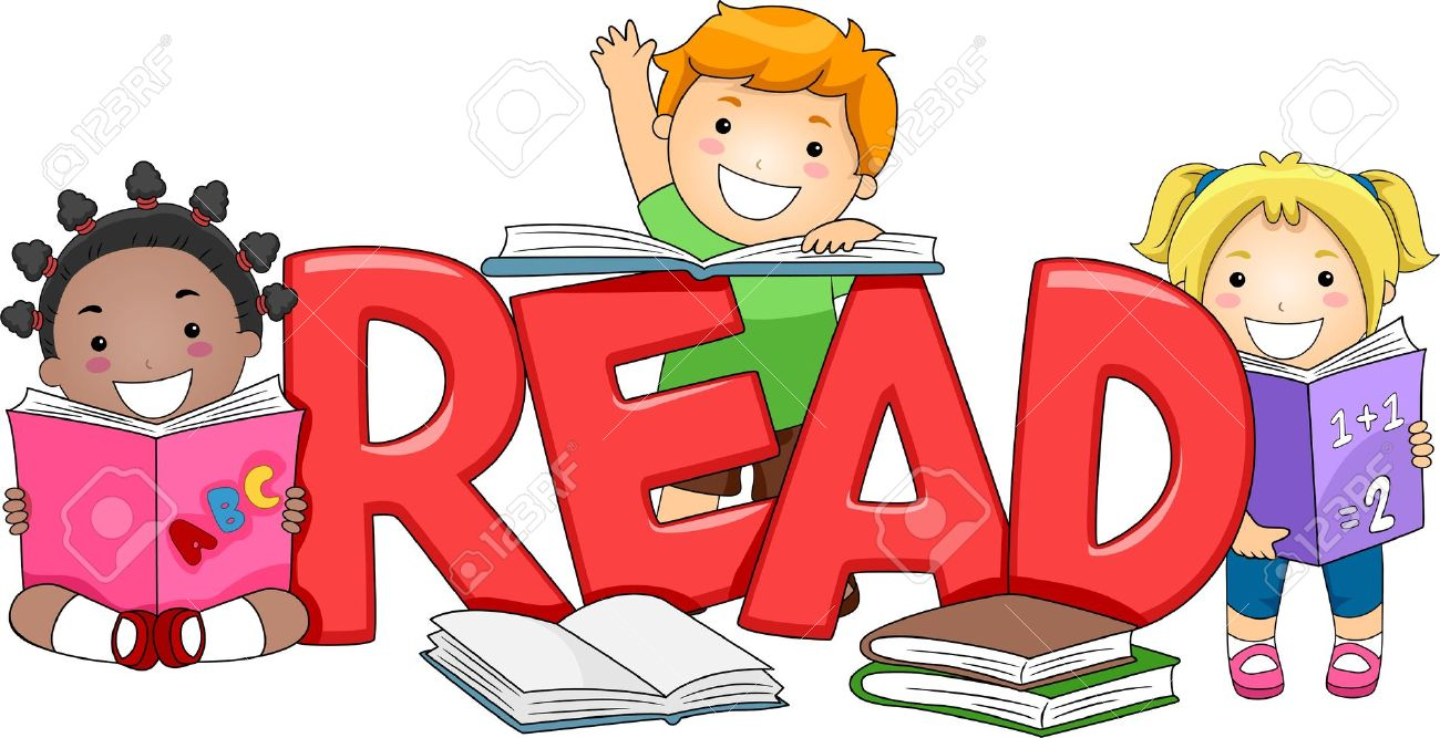 illustration of kids reading different books stock photo picture rh 123rf com Computer Clip Art School Clip Art