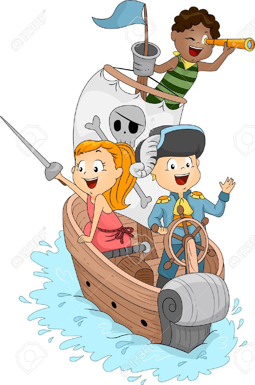 illustration of kids in a pirate ship stock photo picture and